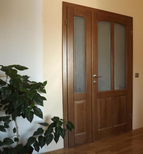 Dvere - kombinácia dreva so sklom<br>  Autor: Marián Neuschl - DREVOLUX, Sklené